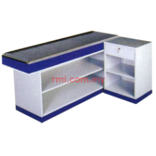 Cashier Counter c/w Cash Register Stand (White & Blue)