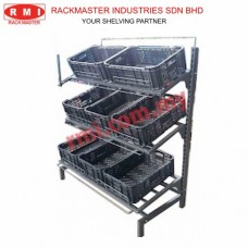 Special Vege Rack c/w 3 Level Metal Frame Shelves with Wire Divider